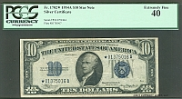 Fr.1702*, 1934A $10 Star Silver Certificate, Extremely Fine, PCGS-40, *01375016A