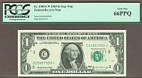 Fr.1903-C*, 1969 $1 Late-Printed Philadelphia Federal Reserve Star Note, GemCU, PCGS66-PPQ