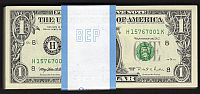 Fr.1922-H, 1995 $1 St. Louis FRN, H-K Block, Pack of 100, GemCU