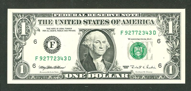 Fr.1923-F, 1995 $1 Web Note, F-D Block, GemCU