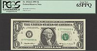 Fr.1924-E, 1999 $1 Richmond FRN, E77755555A, PCGS65-PPQ
