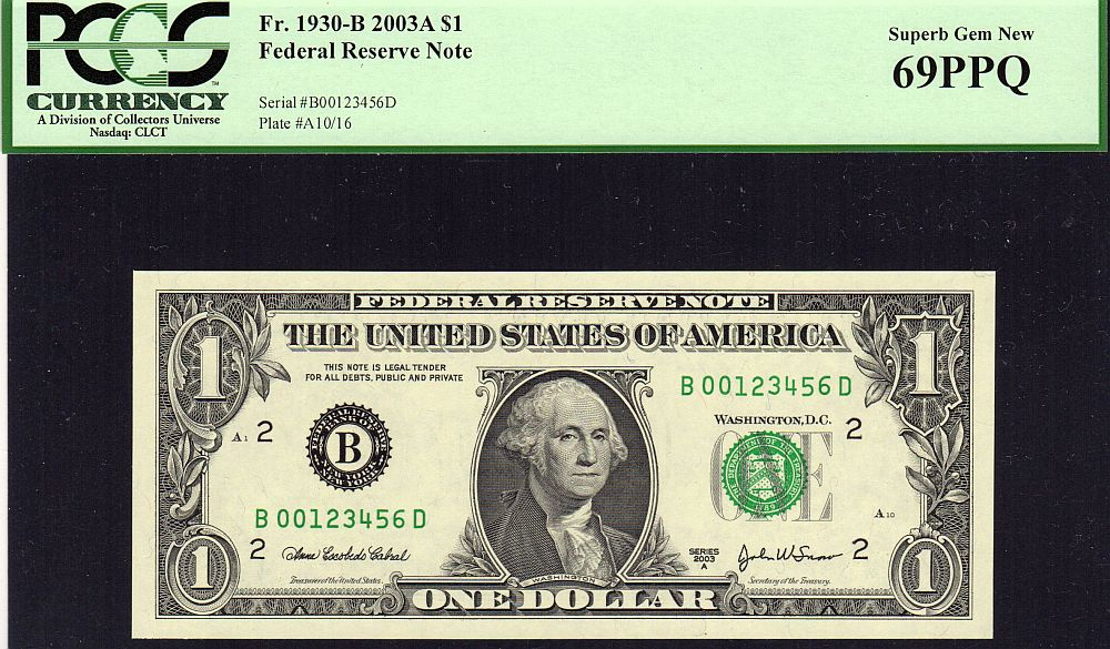 Fr.1930-B, 2003-A $1 FRN, Seven Digit Ladder Serial Number, B00123456D, Superb GemCU, PCGS-69 PPQ