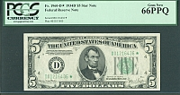 Fr.1960-D*, 1934D $5 Federal Reserve Star Note, Gem, PCGS66-PPQ