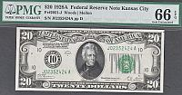 Fr.2051-J, 1928A $20 Kansas City Federal Reserve Note, GemCU, PMG66-EPQ