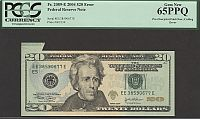 Pre-Third Printing Fold-Over, End of Roll Cutting Error, 2004 $20 FRN, EE38590677E, GemCU, PCGS65-PPQ