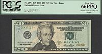 Mismatched Stars Error, 2006 $20 Chicago FRN (FW) STAR Note Error, Fr.2094-G*, IG05437625*, PCGS66-PPQ