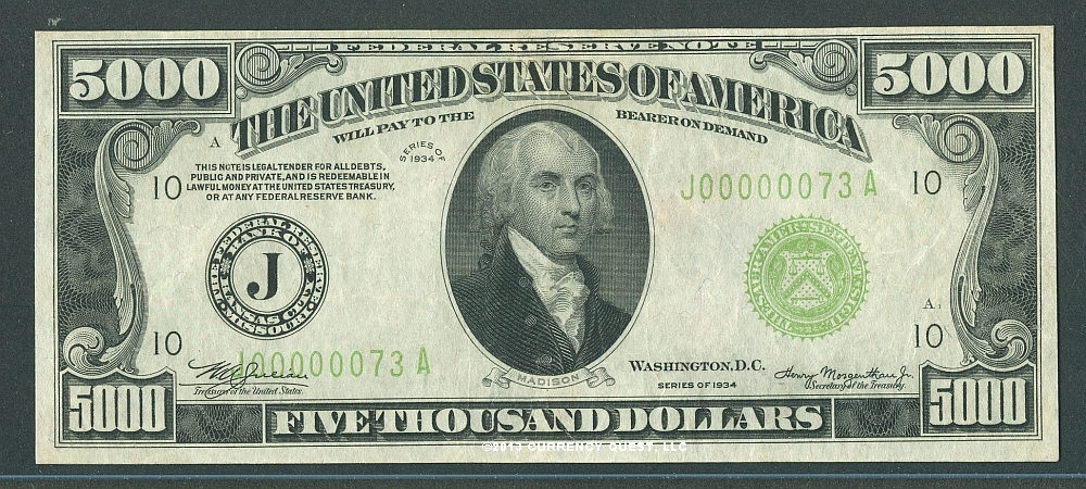 Bill Of Sale Example >> Fr.2221-J, 1934 $5000 Kansas City Federal Reserve Note, ChXF