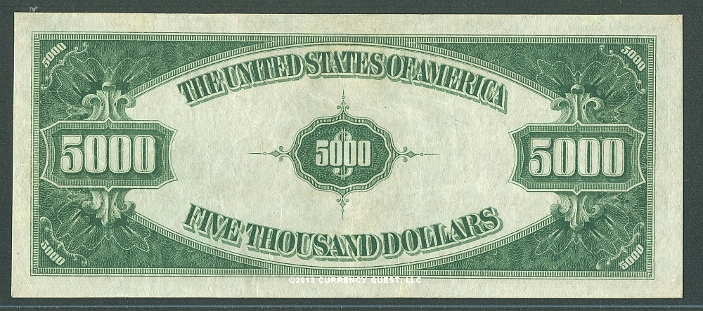 Fr 2221-J, 1934 $5000 Kansas City Federal Reserve Note, ChXF