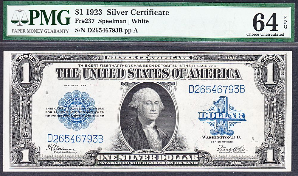 Fr.237, 1923 $1 Silver Certificate, Ch.CU, PMG64-EPQ