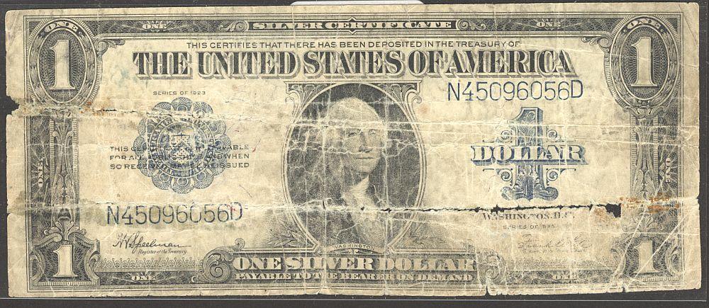 Fr.237, 1923 $1 Silver Certificate, N45096056D, Poor