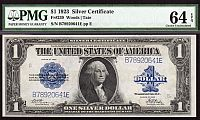 Fr.239, 1923 $1 Silver Certificate, Woods-Tate Signatures, PMG-64-EPQ