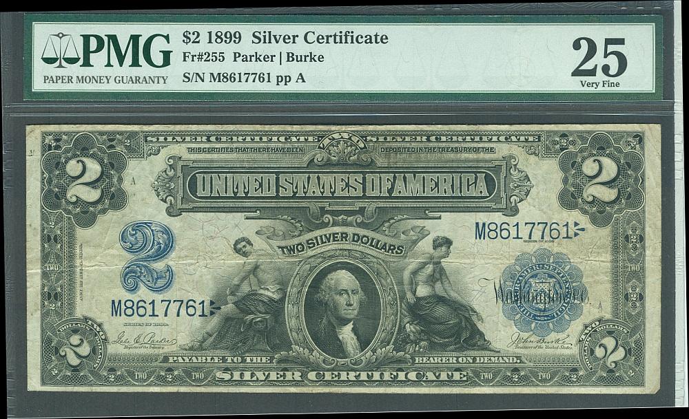 Fr255 1899 2 Silver Certificate M8617761 Vf Pmg 25