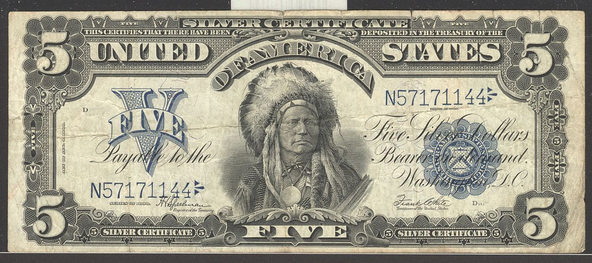 Fr281 1899 5 Indian Chief Silver Certificate N57171144 Vf