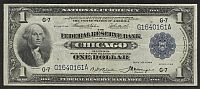 Fr.727, 1918 $1 Chicago Federal Reserve Bank Note, G16400161A, Ch.VF