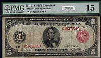 Fr.835b, 1914 $5 Cleveland Red Seal FRN, Choice Fine, PMG-15