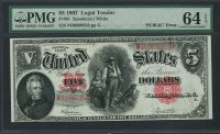 "Fr.0091, 1907 $5 Legal Tender, ""PCBLIC"" Error"