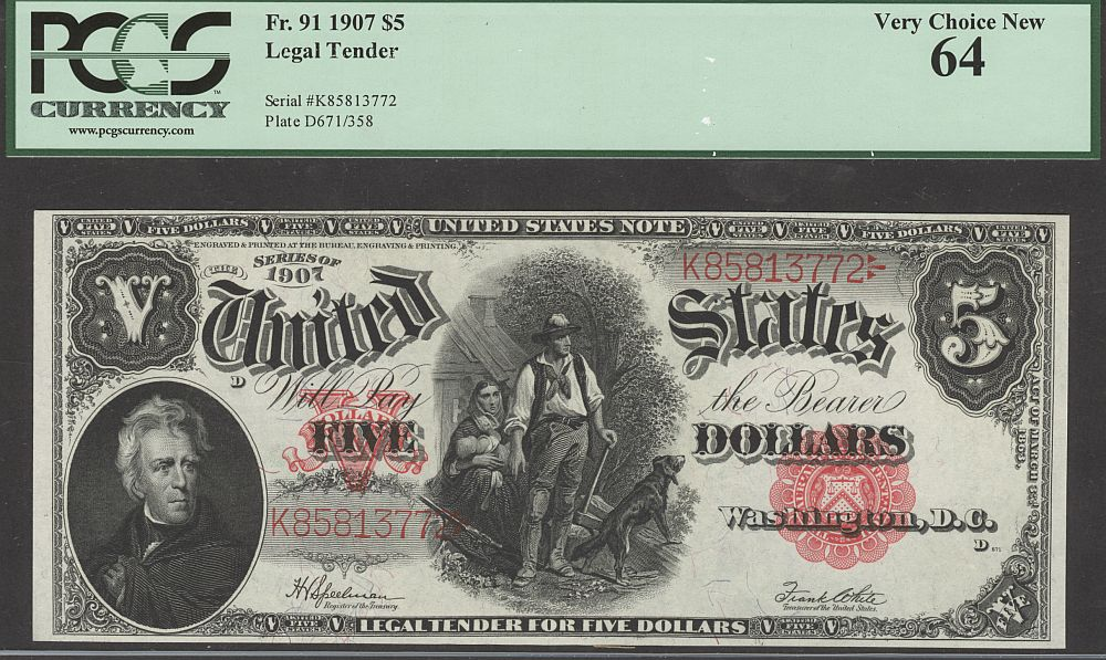 "Fr.91, 1907 $5 Legal Tender ""Woodchopper"" Note, vChCU, PCGS-64, K85813772"