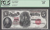 Fr.91, 1907 $5 Legal Tender, Very Fine, PCGS-25