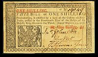 NJ-175 Colonial, 1 Shilling, March 25, 1776 - John Hart Signature, 19049, VF