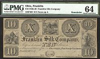 Franklin, Ohio, The Franklin Silk Company, $10 Remainder, vChCU, PMG-64c