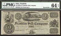 Franklin, Ohio The Franklin Silk Company, $2 Remainder, PMG64-EPQ