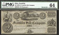 Franklin, Ohio The Franklin Silk Company, $2 Remainder, PMG-64c