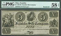 Franklin, Ohio The Franklin Silk Company, $5 Remainder, vChCU, PMG58-EPQ