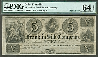 Franklin, Ohio The Franklin Silk Company, $5 Remainder, vChCU, PMG64-EPQ