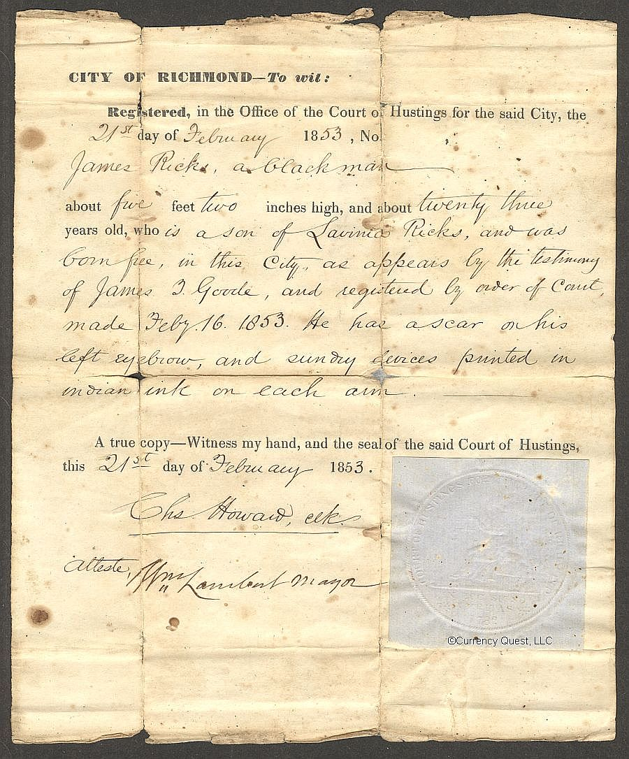 Freeman ID Document, Richmond, Virginia, February 21, 1853
