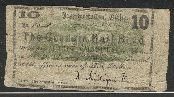 Georgia Rail Road, Augusta, 1863 Ten Cent Note
