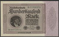 Germany, P-83a, 1 Feb. 1923 100,000 Mark Reichsbanknote, Ch.-GemCU