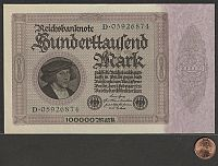 Germany, P-83a, Feb 1, 1923 100,000 Mark(200)size reference.jpg