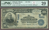 Gillespie, IL, 1902PB $10, Charter #7903, Gillespie National Bank, VF, PMG-20