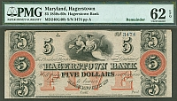 Hagerstown, MD, The Hagerstown Bank 1850s-60s $5 Remainder, 3474ppA, PMG62-EPQ