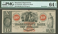 Hagerstown, MD, The Hagerstown Bank 1850s-60s $10 Remainder, 3474ppA, PMG64-EPQ