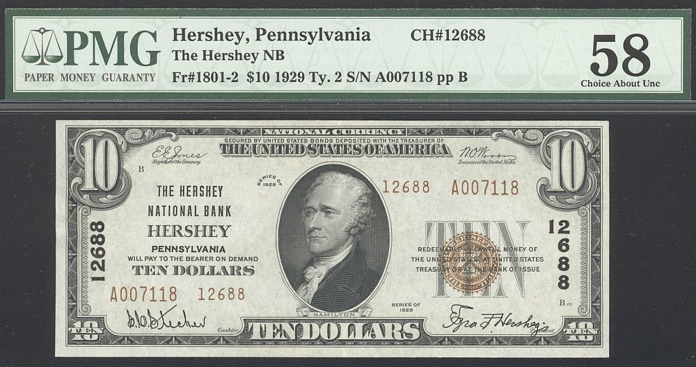 Hershey, PA, Ch.#12688, 1929T2 $10, A007118, Very Choice AU, PMG-58