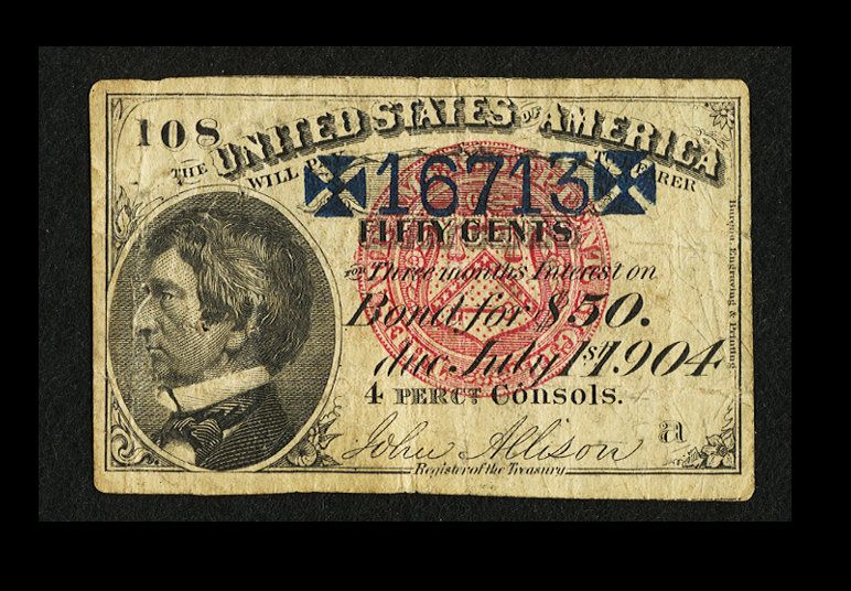 William Seward Portrait on 50c Coupon of the 1877 Issue United States 30 Year 4% Loan