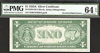 Inverted Back Silver Certificate Error, 1935A, Fr.1608, W-A Block No Motto $1, vChCU, PMG-64, EPQ