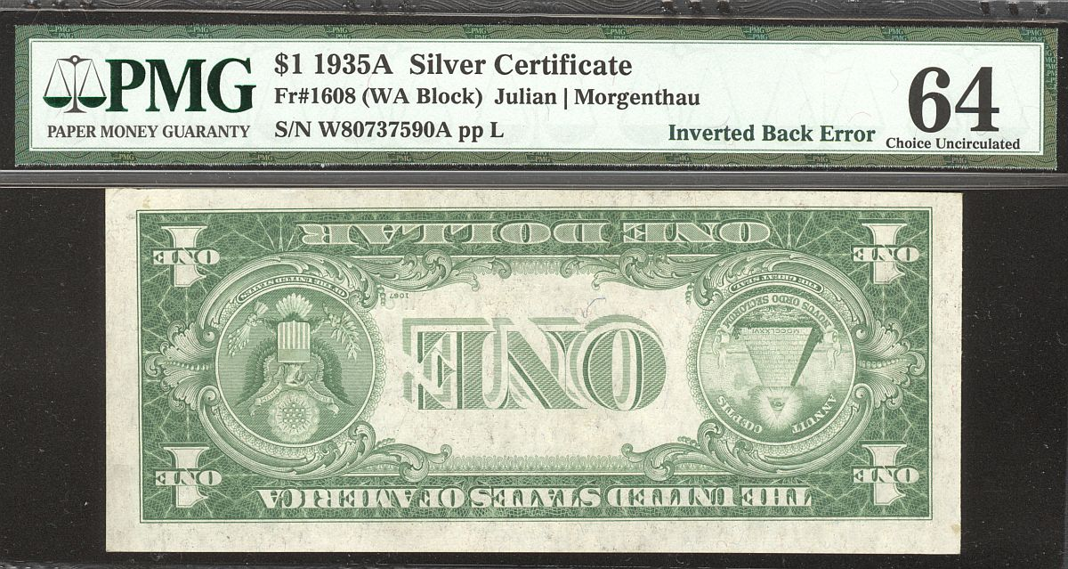 Inverted Back Silver Certificate Error, 1935A, Fr.1608, W-A Block No Motto $1, vChCU, PMG-64