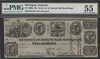 Jackson, Michigan, 1840 $5 Detroit & St. Joseph Rail Road Bank $5, ChAU, PMG-55