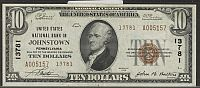 Johnstown, PA, Ch.#13781, 1929T2 $10, United States National Bank, XF/AU, A005157