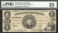 Tennessee, Jonesboro (Knoxville) The Bank of East Tennessee, 1855, $1, VF, 1637, PMG-25