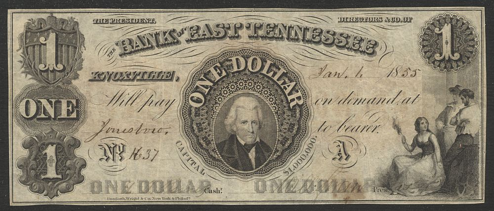 Tennessee, Knoxville, The Bank of East Tennessee, 1855, $1, VF, 1637