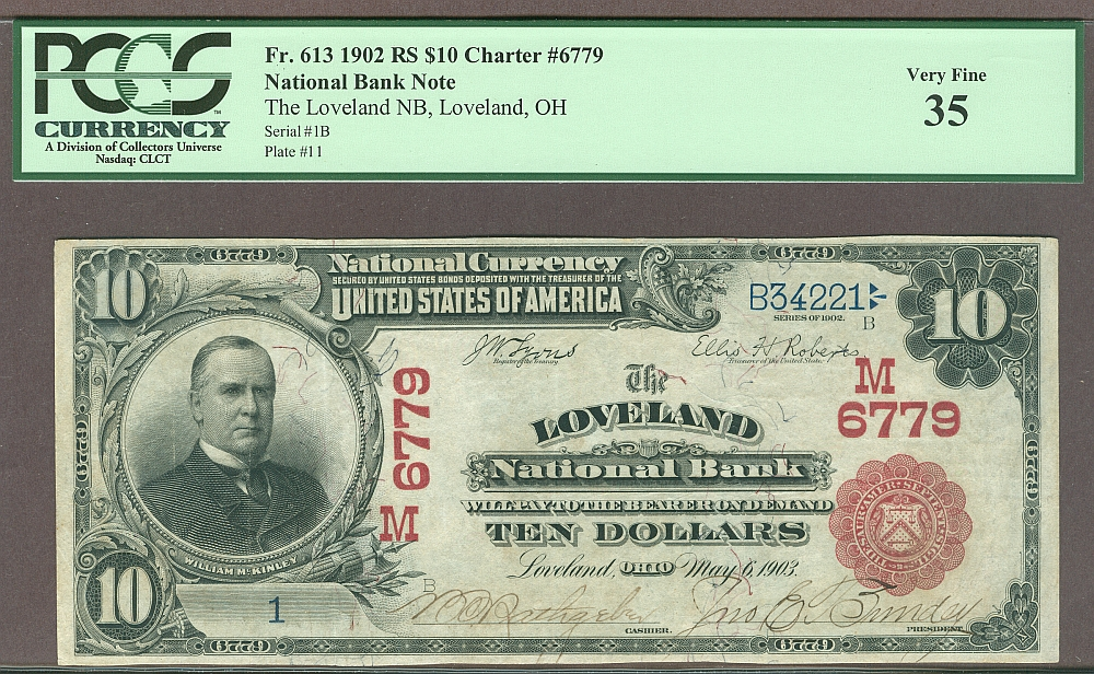 Loveland, OH, #1 1902RS $10, Ch.#6779, The Loveland National Bank, Ch.VF, PCGS-35