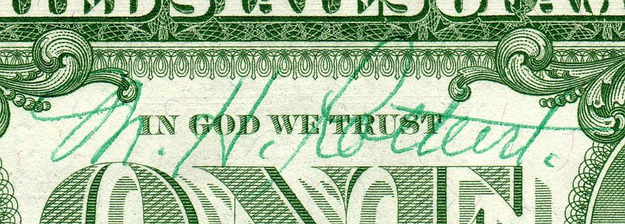 "M.H. Rothert Autographed ""With Motto"" $1 Star Silver Certificate, GemCU"