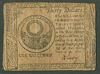 CC-62, Baltimore Maryland $30 Continental Note of Feb. 26, 1777, Signed by Ben Levy