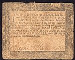 MD-95, Maryland Colony Two-Thirds Dollar of August 14, 1776, VG