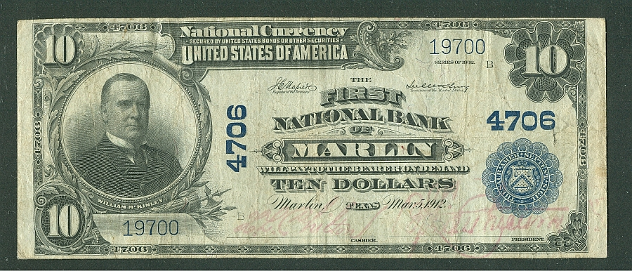 The First National Bank of Marlin, TX, Charter 4706, 1902PB $5,