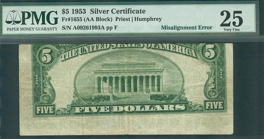 Misalignment Error Note, 1953 $5 Silver Certificate, Fr.1655 ...