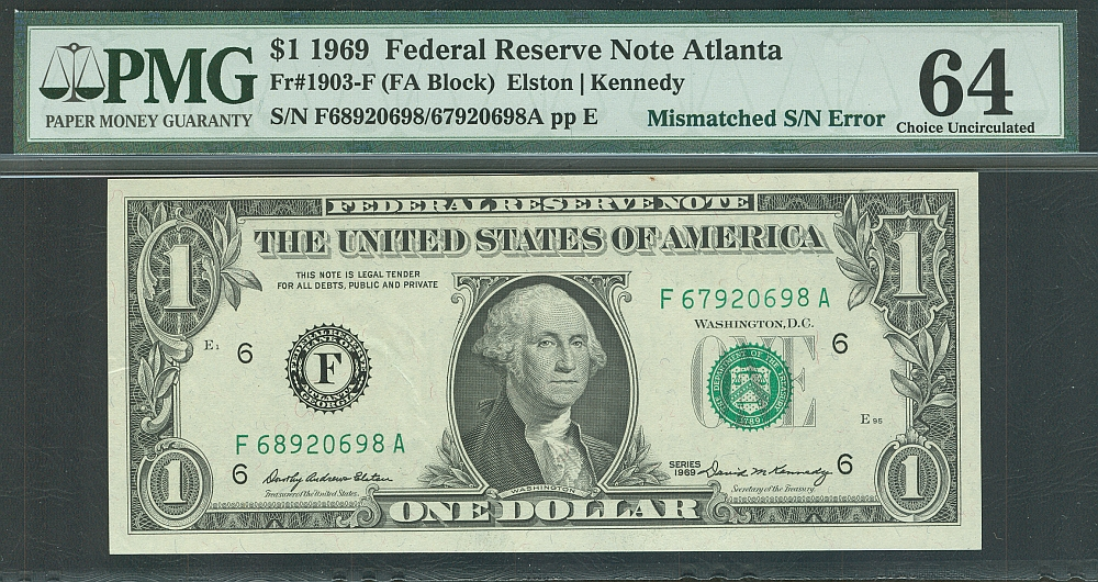 Mismatched Serial Number Error, 1969 $1 Atlanta FRN F68920698A/F67920698A, vChCU, PMG-64
